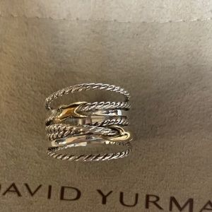 David yurman 925&18k double x crossover ring s6.5